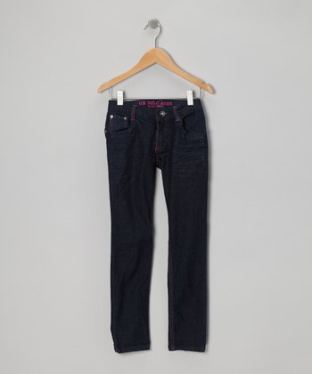 Medium Wash & Pink Crinkle Skinny Jeans