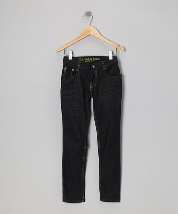 Dark Wash & Yellow Crinkle Skinny Jeans - Girls
