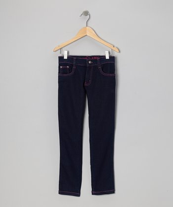 Medium Wash & Berry Bug Skinny Jeans