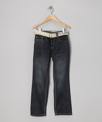 Dark Wash & White Belted Straight-Leg Jeans - Boys
