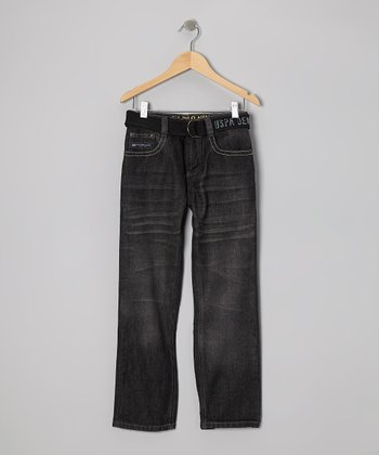 Dark Wash & Navy Belted Straight-Leg Jeans - Boys