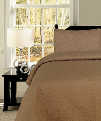 Tan Diamond Twin Quilt Set