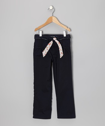 Navy Floral Tie Ruched Pocket Pants - Girls