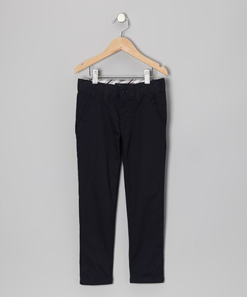 Navy Slant Pocket Pants - Girls