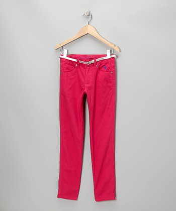 Berry Belted Pants - Girls