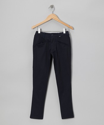 Navy Tab Pants - Girls