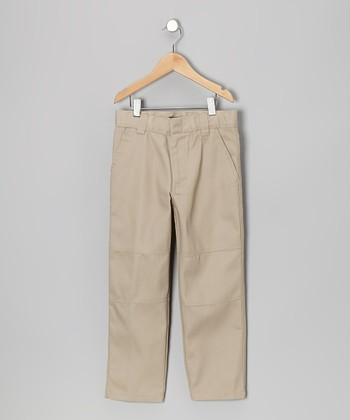 Khaki Knee Patch Pants - Boys