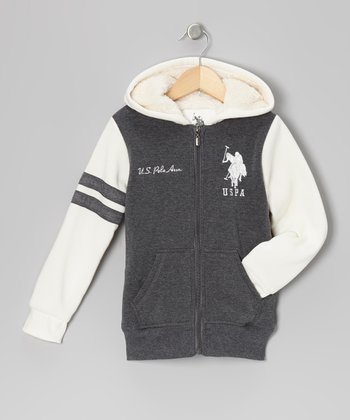 Dark Gray Zip-Up Hoodie - Girls