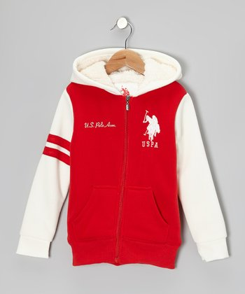 Red Zip-Up Hoodie - Girls