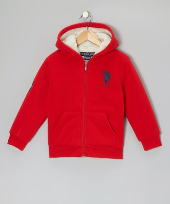 Red 'USPA' Sherpa Zip-Up Hoodie - Boys
