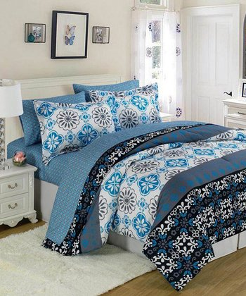 Blue & White Funky Tiles XOXO Comforter Set