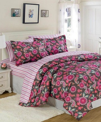 Pink & Chocolate Paisley Comforter Set