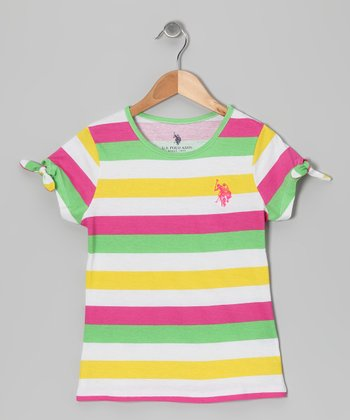 Pink & Green Stripe Tee - Girls