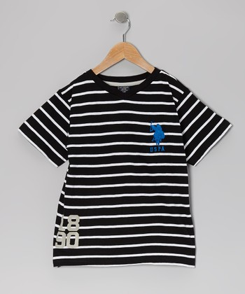 Black & White Stripe V-Neck Tee - Toddler & Boys