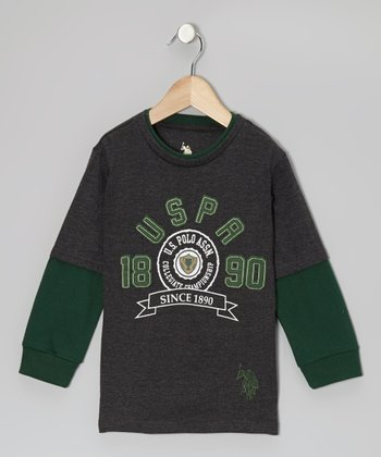 Dark Gray & Green 'USPA' Layered Tee - Boys