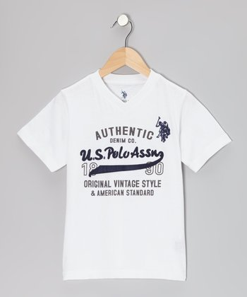 White 'Authentic' V-Neck Tee - Boys