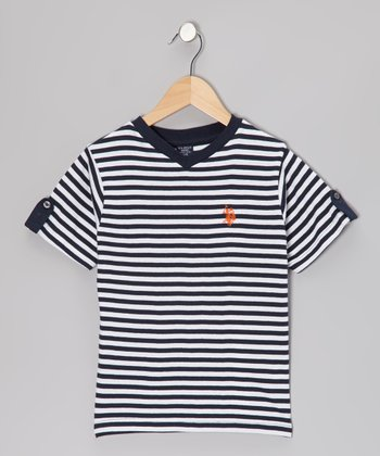 Navy & White Stripe V-Neck Tee - Boys