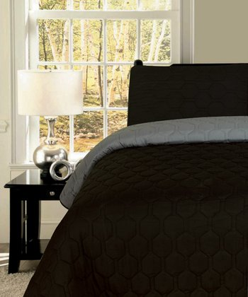 Black  & Gray Honeycomb Reversible King Quilt Set