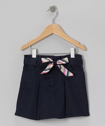Navy Stripe Tie Skort - Girls