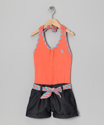Orange & Denim Halter Romper - Toddler & Girls