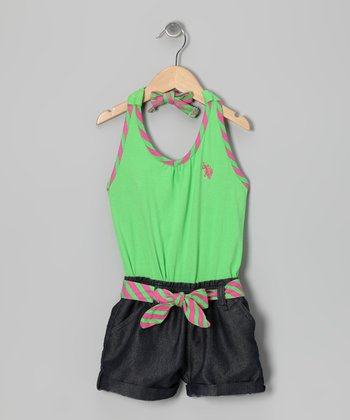 Lime & Denim Halter Romper - Toddler & Girls