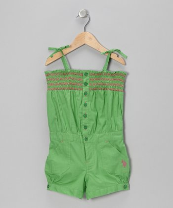 Lime Shirred Romper - Girls