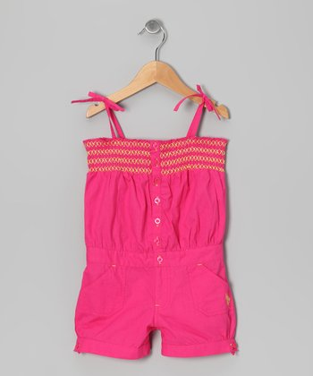 Rose Shirred Romper - Girls