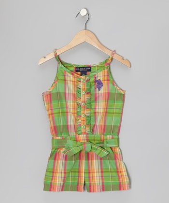 Green Plaid Ruffle Button-Up Romper - Girls