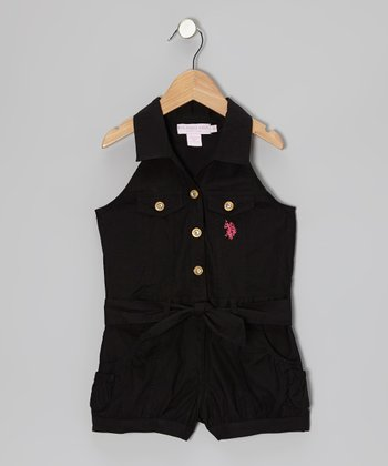 Black Button-Up Romper - Girls