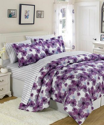 Purple & White Floral Comforter Set