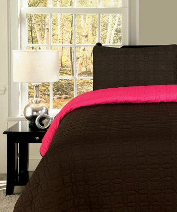 Chocolate & Pink Circles Reversible King Quilt Set