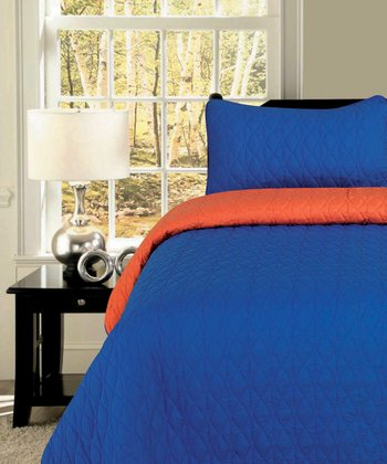 Orange & Cobalt Ovals Reversible Quilt Set