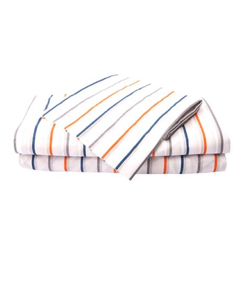 Blue & White Playful Stripe Microfiber Sheet Set