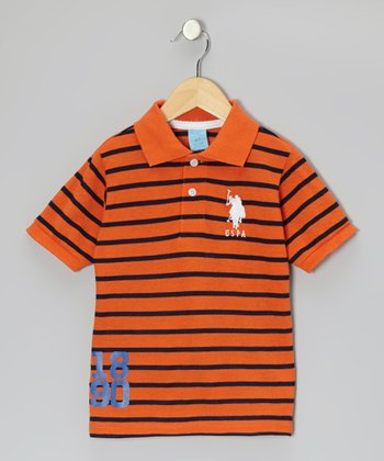 Orange Popsicle Stripe 'USPA' Polo - Boys