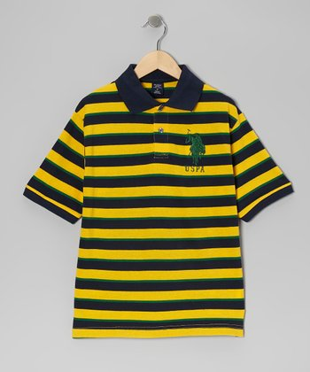 Navy & Gold Stripe Polo - Boys