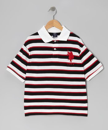 White & Black Stripe Polo - Boys