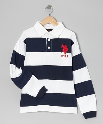 White & Navy Stripe Long-Sleeve Polo - Boys