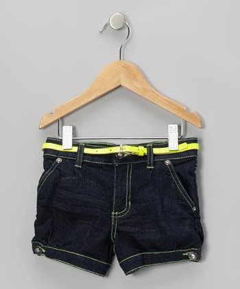 Dark Blue & Yellow Belted Shorts - Girls