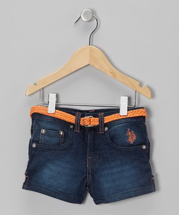 Medium Wash & Orange Belted Denim Shorts - Girls