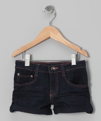 Dark Wash & Orange Denim Shorts - Girls
