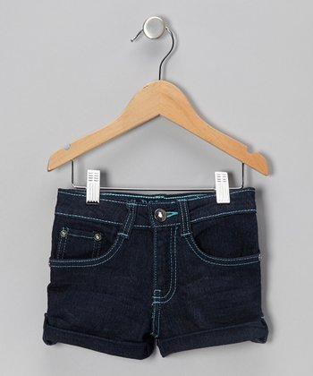 Dark Wash & Aqua Seam Denim Shorts - Toddler & Girls