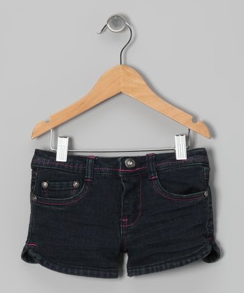 Dark Wash & Pink Denim Shorts