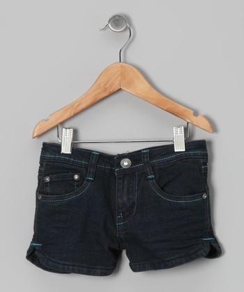 Medium Wash & Turquoise Denim Shorts - Girls