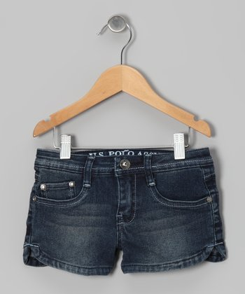 Distressed Medium Wash Denim Shorts
