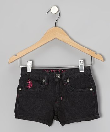 Black & Pink Denim Shorts - Girls