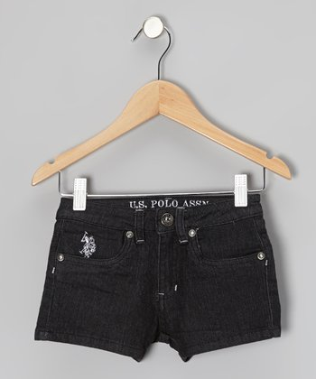 Black & White Denim Shorts - Girls
