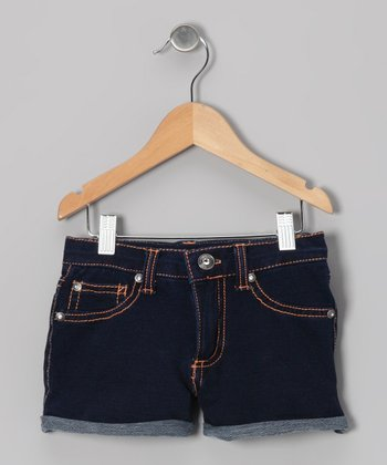 Bright Blue & Orange Denim Shorts - Girls