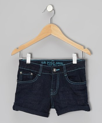 Dark Wash & Turquoise Denim Shorts - Girls
