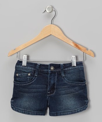 Medium Wash & White Denim Shorts