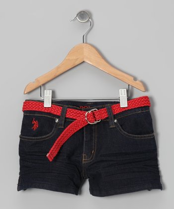 Dark Wash & Orange Belted Denim Shorts